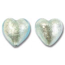 Pair Murano Glass Aquamarine White Goldfoil Hearts