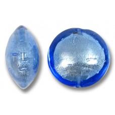1 Murano Glass Sapphire White Goldfoil 14mm Lentil
