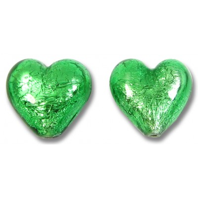 Pair Murano Glass Silverfoil Emerald 14mm Heart Beads