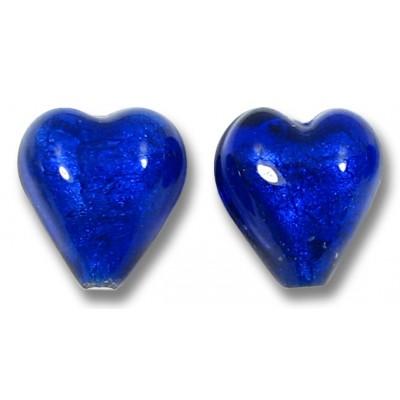 Pair Murano Glass White Goldfoil Cobalt 10mm Heart Beads