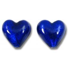 Pair Murano Glass Silver foil Cobalt 12mm Heart Beads