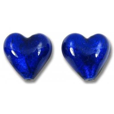 Pair Murano Glass White Goldfoil Cobalt 14mm Heart Beads