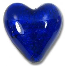 1 Murano Glass White Goldfoil Cobalt 20mm Heart Bead