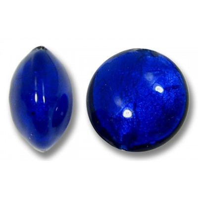1 Murano Glass Cobalt White Goldfoil Lentil