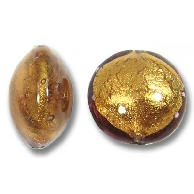 1 Murano Glass Chocolate Amethyst Goldfoil 14mm Lentil