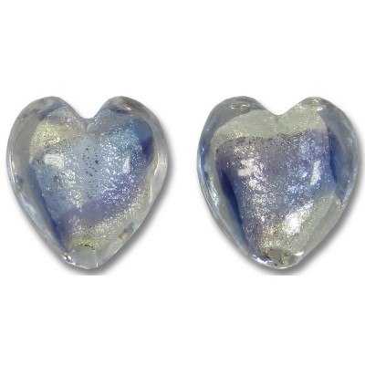 Pair Murano Glass Purple Velvet/ Periwinkle Blue 14mm White Goldfoiled Hearts