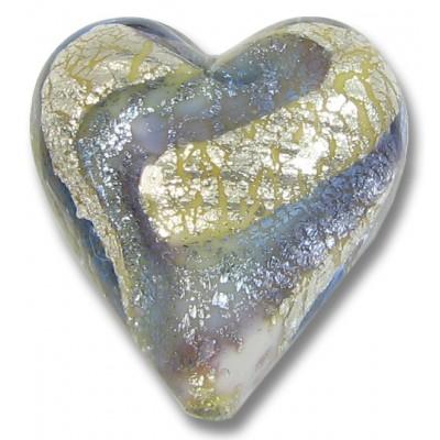 1 Murano Glass Purple Velvet/ Periwinkle Blue 20mm White Goldfoiled Heart