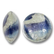 1 Murano Glass Purple Purple Velvet/ Periwinkle Blue 15mm White Goldfoiled Lentil