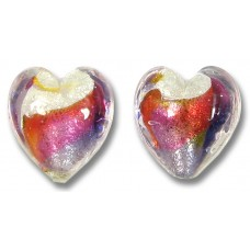 Pair Murano Glass Purple Velvet/ Ruby Red 14mm Goldfoiled Hearts