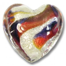 1 Murano Glass Purple Velvet/ Ruby 20mm Goldfoiled Heart