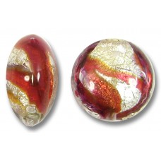 1 Murano Glass Purple Velvet/ Ruby 15mm White Goldfoiled Lentil