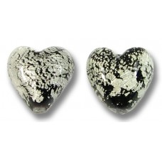 Pair Murano Glass Crackled White Gold Foiled over Black 10mm Heart Beads