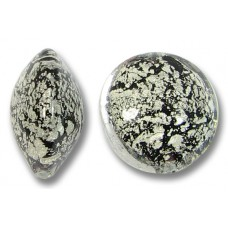 1 Murano Glass Crackled White Gold Foiled over Black 14mm Lentil Bead