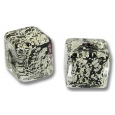 2 Murano Glass Crackled White Gold Foiled over Black Cube Beads