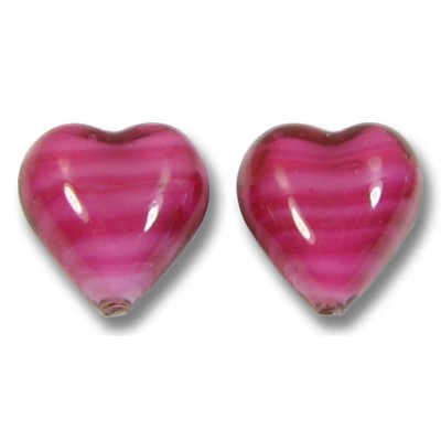 Pair Murano Glass Raspberry White Core 12mm Hearts