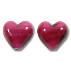 Pair Murano Glass Raspberry White Core 12mm Hearts