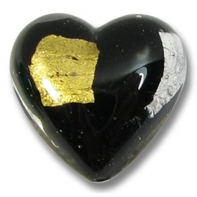 1 Murano Glass Midnight Treasure 18mm Heart