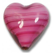 1 Murano Glass 20mm Heart Rosa White Core