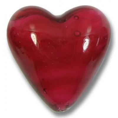 Murano Glass 20mm Heart - Raspberry White Core