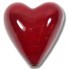 Murano Glass Ruby Red White Core 20mm Heart