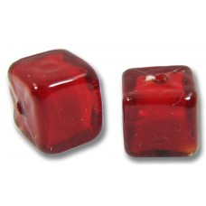Pair Murano Glass Ruby Red Cubes