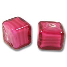 Pair Murano Glass Raspberry White Core 8mm Cube Beads