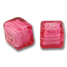 Pair Murano Glass Rosa White Core Red Cubes