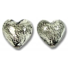 Pair Murano Glass Crackled White Gold Foiled over Black 14mm Heart Beads