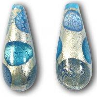 1 Murano Glass 24kt Goldfoil Extravagant Drop Sapphire Aqua BD