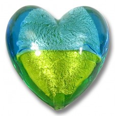 1 Murano Glass White Gold Foiled Bi Colour Heart Aquamarine/ Lime
