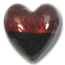 1 Murano Glass Bi Colour Heart Ruby with 24kt Gold Foil and Black
