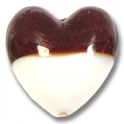 1 Murano Glass Bi Colour Heart Ruby with 24kt Gold Foil and White