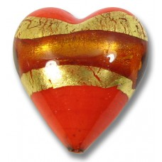 1 Murano Glass Persimmon (Orange) with Topaz 24kt Goldfoil Heart