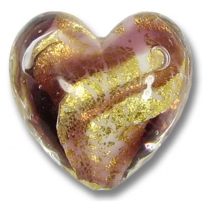 1 Murano Glass 24kt Gold Foil Amethyst Swirl Heart