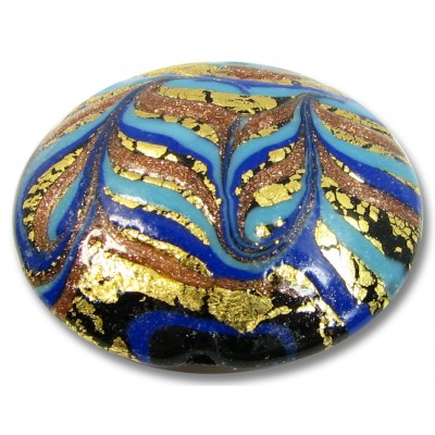 1 Murano Glass Goldfoiled Feathered Sapphire Aqua Large Lentil