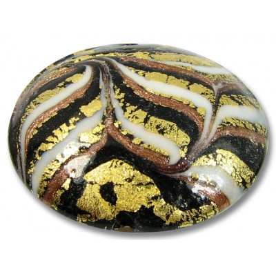 1 Murano Glass Goldfoiled Feathered White Black and Gold Aventurine Large Lentil
