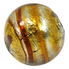 1 Murano Glass Silver Foiled Topaz / Pewter 15.5mm Round Bead