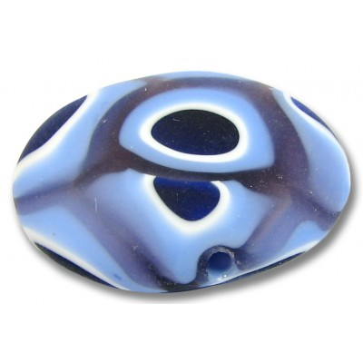 1 Murano Glass Matte / Etched Periwinkle Sapphire and Amethyst and White 25mm Lentil