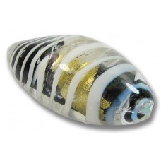 1 Murano Glass Gold Foiled Black with White Stripe Oval Nugget Bead