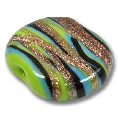1 Murano Glass Aqua / Gold Aventurine / Lime / Black Flat Tab Bead