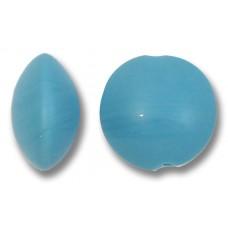 1 Murano Glass Matte Lentil Bead Turquoise