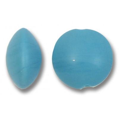 1 Murano Glass Matte 14mm Lentil Bead Turquoise