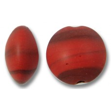 1 Murano Glass Matte 14mm Lentil Bead Red