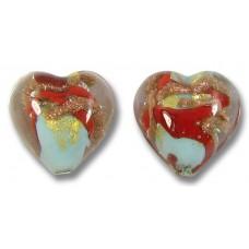 Pair Murano Glass Red / Aquamarine Aventurine Goldfoil Heart Beads