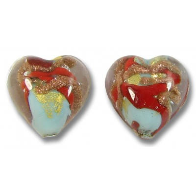 Pair Murano Glass Red / Aquamarine Aventurine Goldfoil Heart Beads
