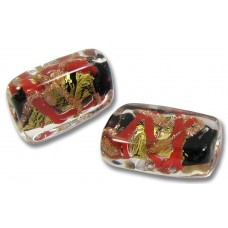 1 Murano Glass Red / Black Aventurine Goldfoil Oblong Bead