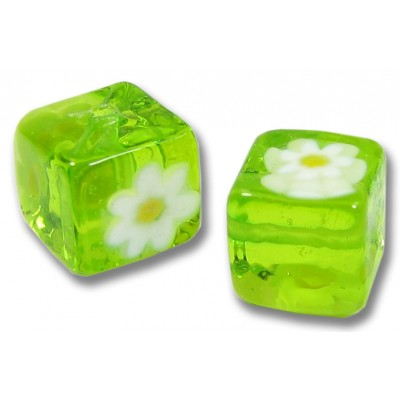 Pair Murano Glass Lime and White Millefiore 8mm Cube Beads
