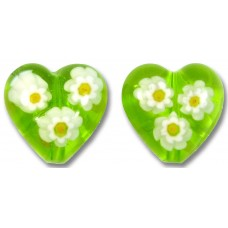 Pair Murano Glass Lime and White Millefiore 14mm Heart Beads
