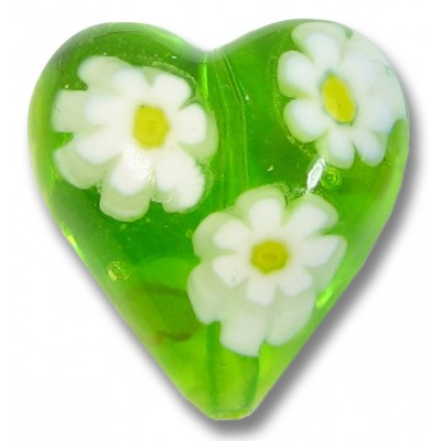 1 Murano Glass Lime and White Millefiore 20mm Heart Bead