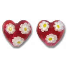 Pair Murano Glass Rosy Ruby Pink Millefiore 14mm Heart Beads